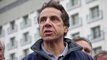 New York Governor Andrew Cuomo speaks to members