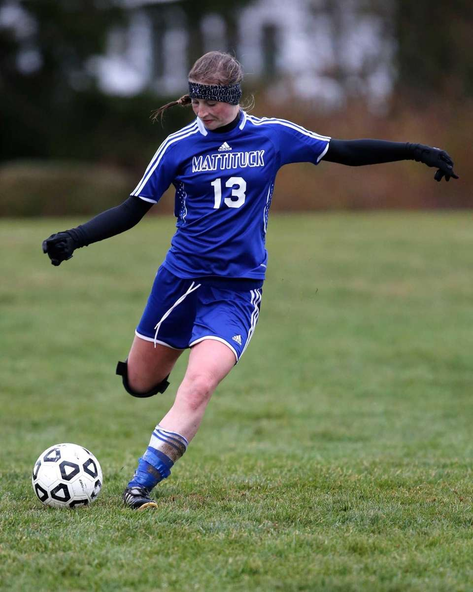 Mattituck's Nicole Zurawaski clears the ball down field