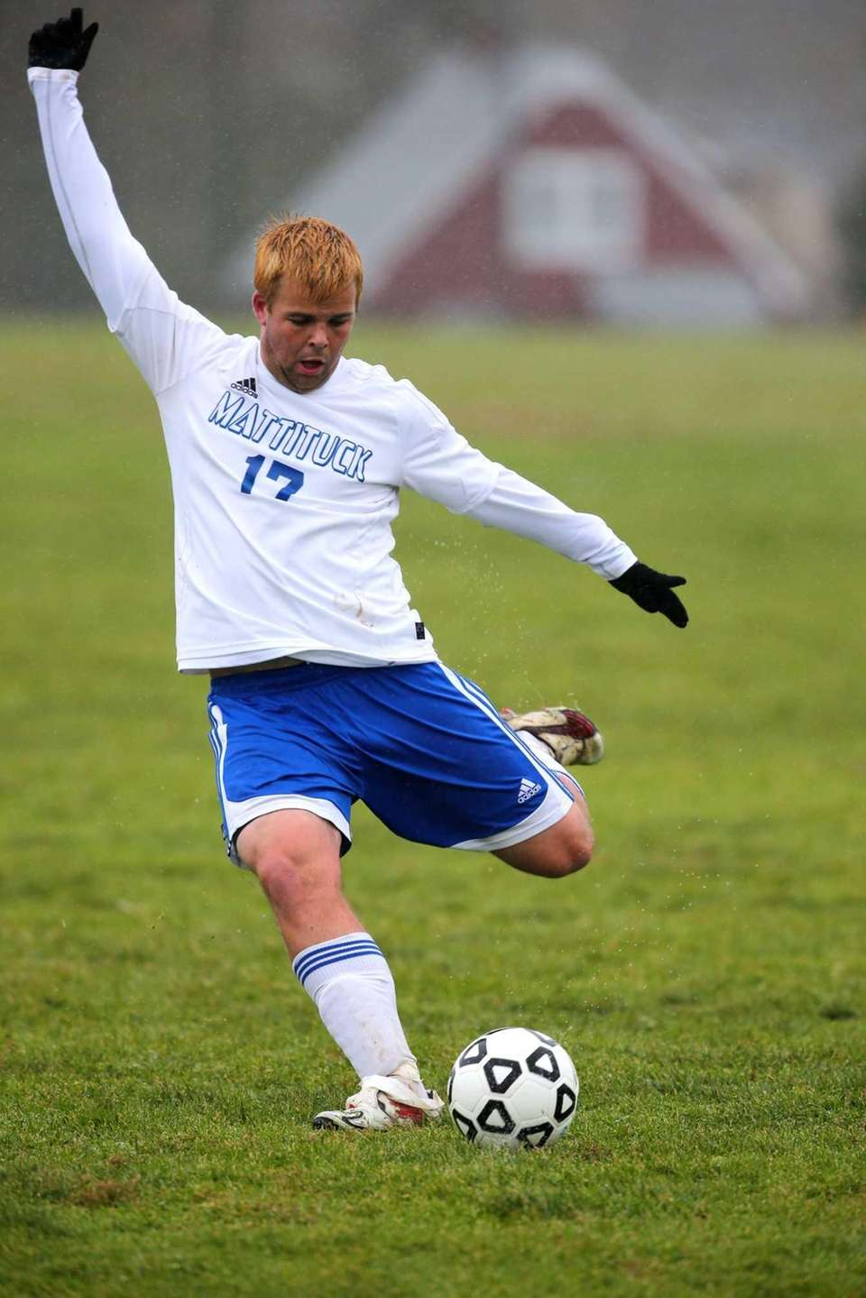 Mattituck's Ryan Finger takes a shot on goal