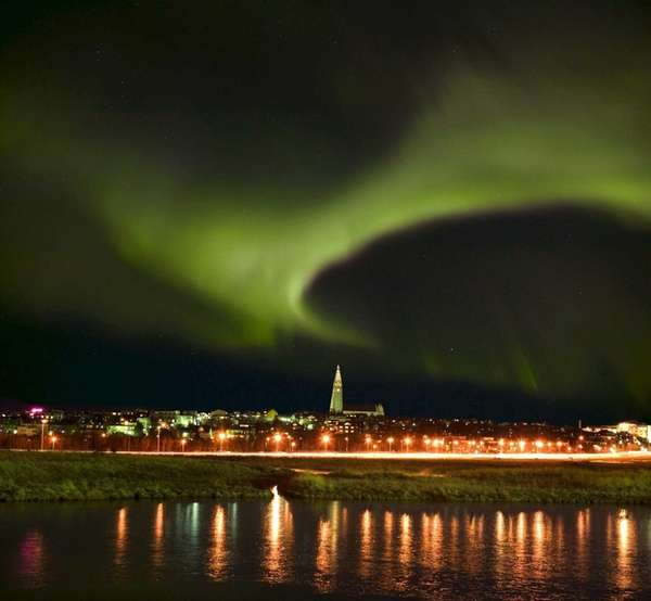 The aurora borealis, or northern lights, in Reykjavik,