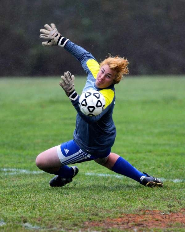 Mattituck goalie Stephen Ostrowski makes a first-half save
