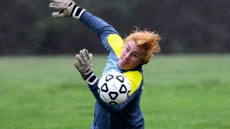 Mattituck goalie Stephen Ostrowski makes a first-half save