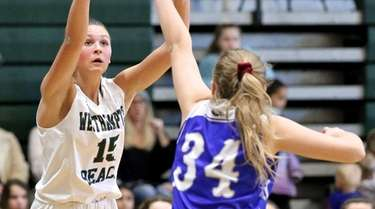 Westhampton Beach guard Olivia Rongo tries for the