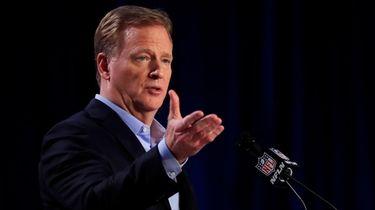 NFL Commissioner Roger Goodell speaks to the media