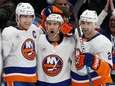 Jordan Eberle of the Islanders, center, celebrates his