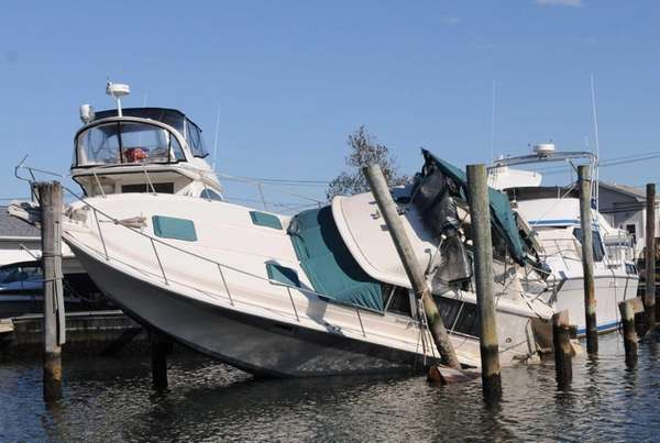 One of dozens of boats damaged in the