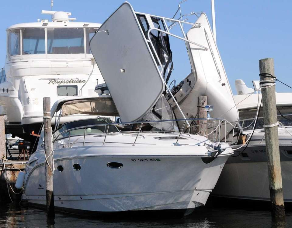 These boats at Anchorage Marina in Lindenhurst were