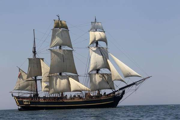 The HMS Bounty sails on Lake Erie off