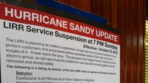 A sign posted in the Ronkonkoma LIRR station