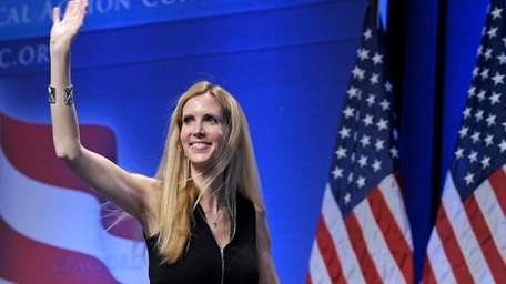 Ann Coulter waves to the audience after speaking