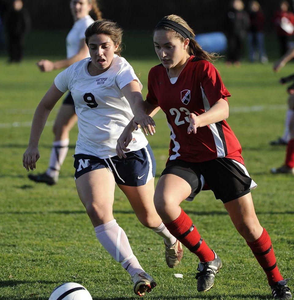 Northport's Samantha Avallone and East Islip's Gianna Jennosa