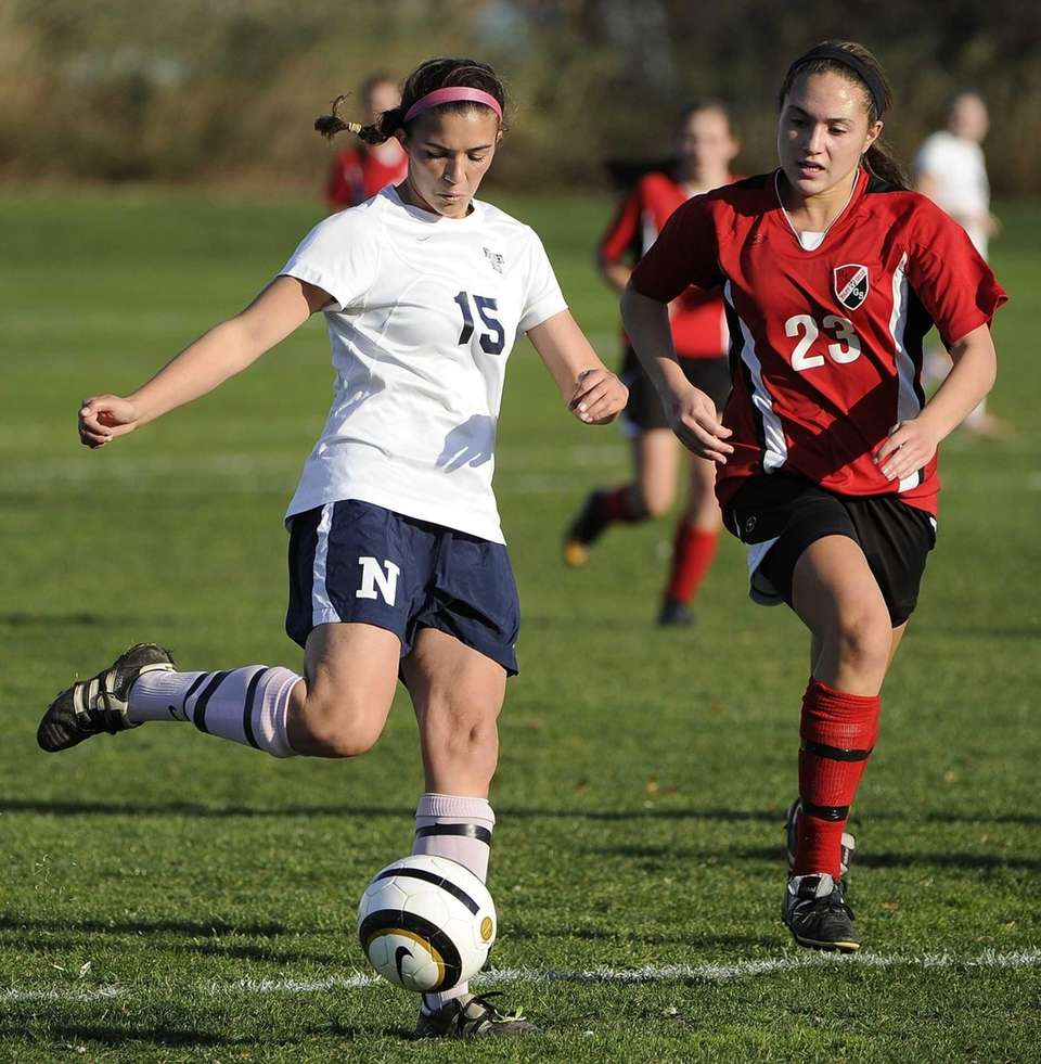 Northport's Cortney Fortunato controls the ball ahead of