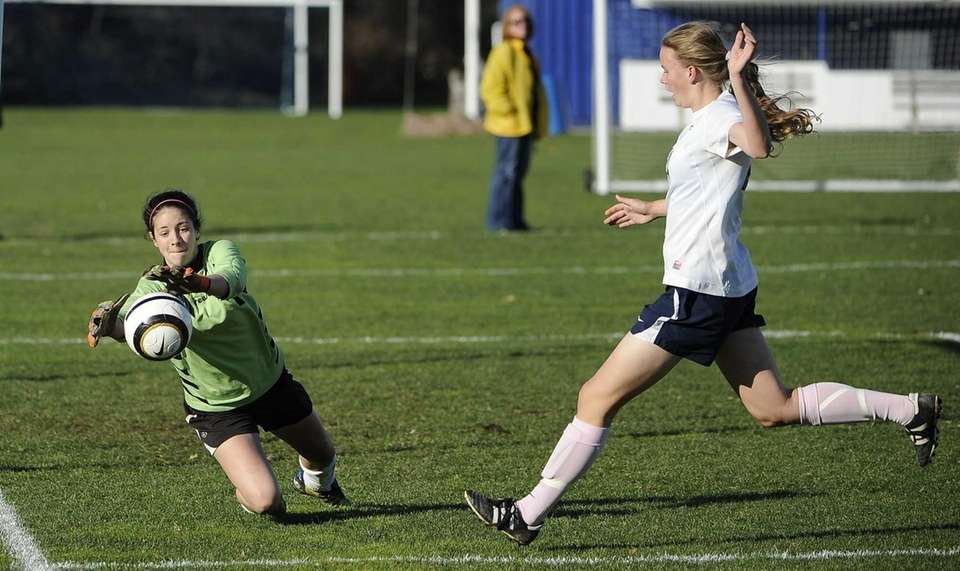 East Islip goalkeeper makes a save as Northport's