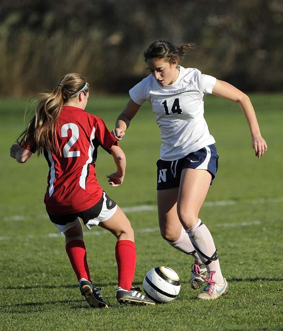 Northport's Vincenza Patrone controls the ball defended by