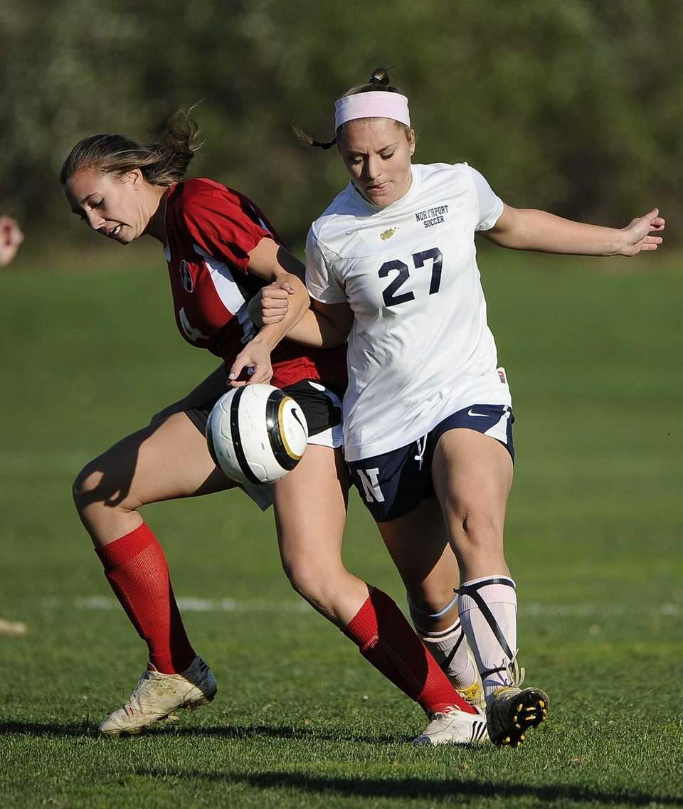 Northport's Emily Columbus and East Islip's Kayla Saager