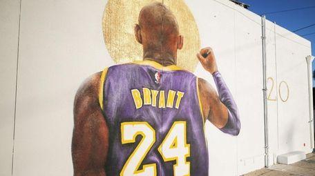 A mural depicting deceased NBA star Kobe Bryant,