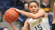 Longwood's Angelene Bailey grabs a rebound in the