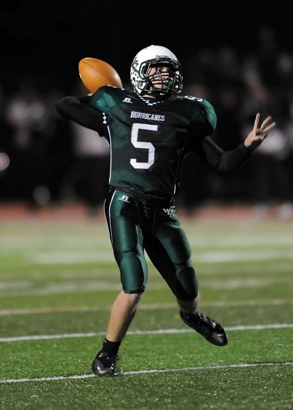 Westhampton's Jack Murphy looks to the end zone