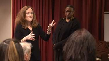 Rep. Kathleen Rice (D-Garden City) addresses audience at