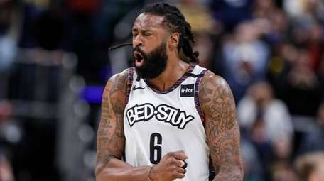 Nets center DeAndre Jordan reacts at the final