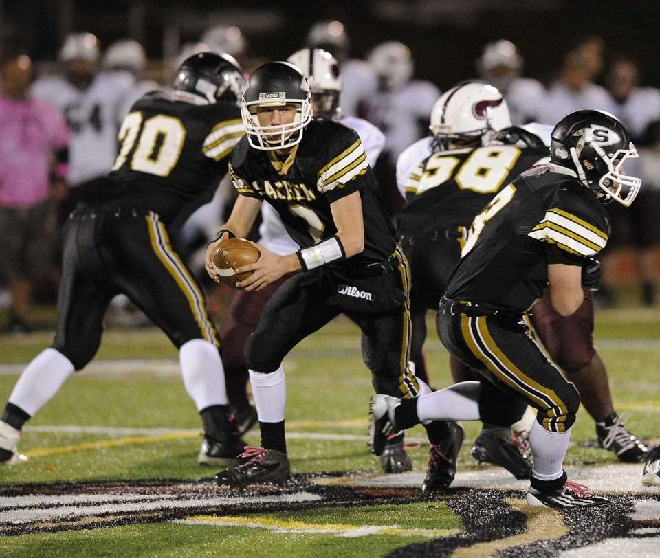 Sachem North quarterback Mike O'Donnell looks to pass