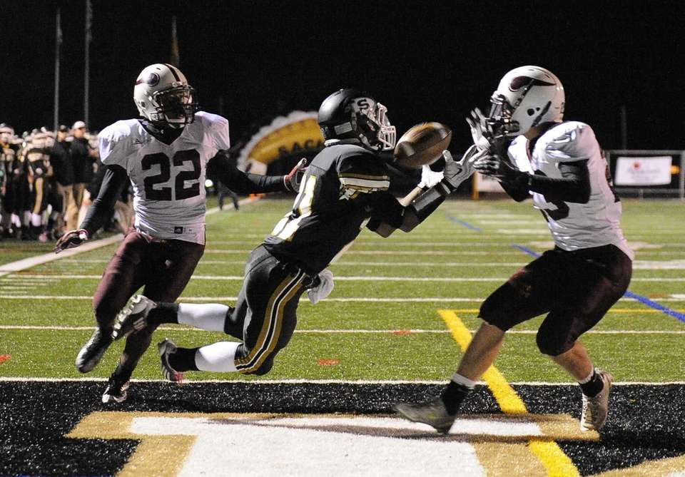 Sachem North's Kevin Bragaglia makes the catch for