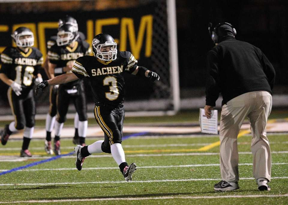 Sachem North's Kevin Lathan celebrates his second-half touchdown