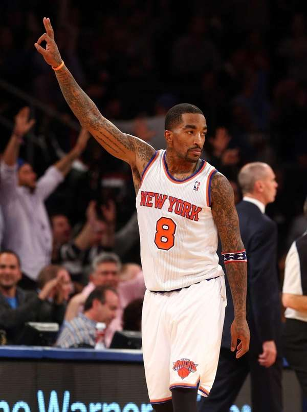 J.R. Smith celebrates a three-point shot against the