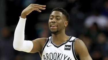 Caris LeVert of the Nets reacts against the