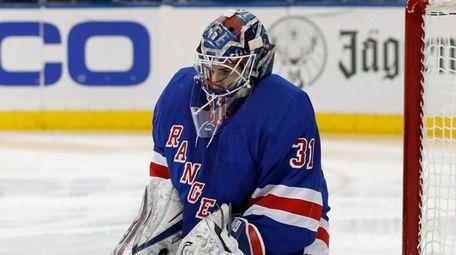 Igor Shesterkin of the Rangers makes a save