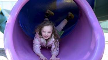 Kaeli Natter, 5, of Manorhaven, plays at Manorhaven
