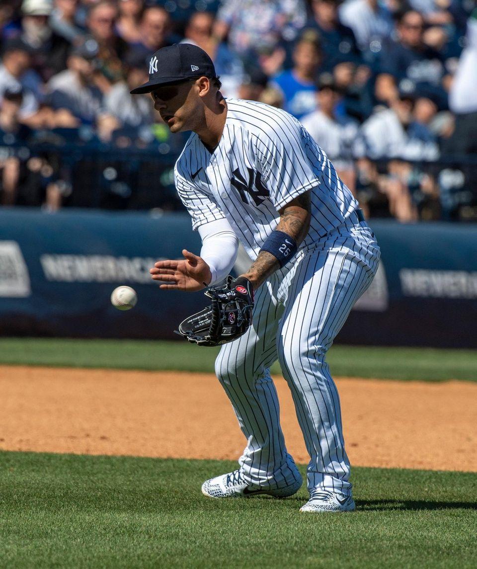 New York Yankees' Gleyber Torres fielding a hit