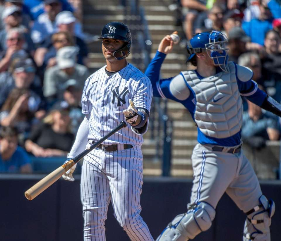 New York Yankees' short stop Gleyber Torres tosses