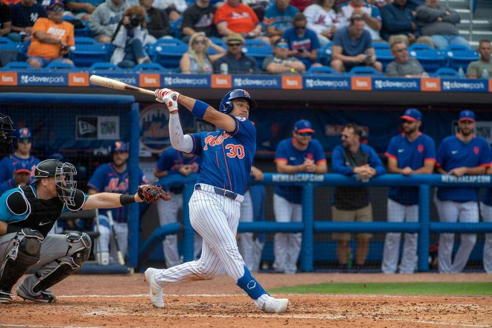New York Mets' Michael Conforto bats during today's