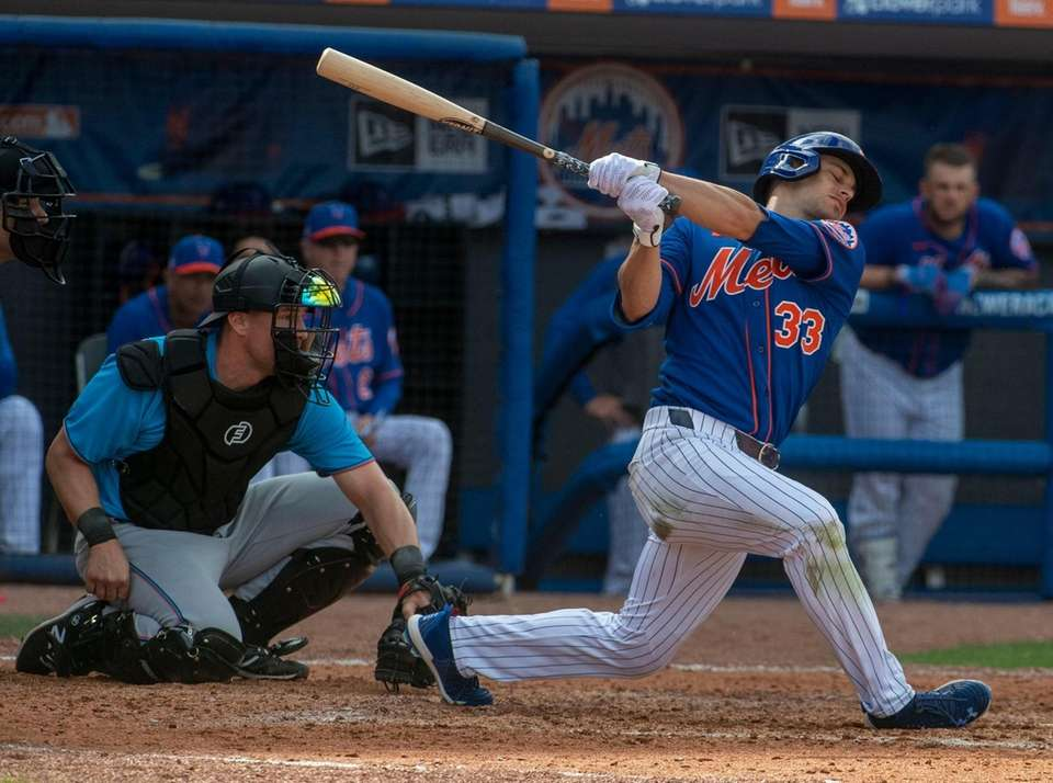 New York Mets' Max Moroff bats during today's