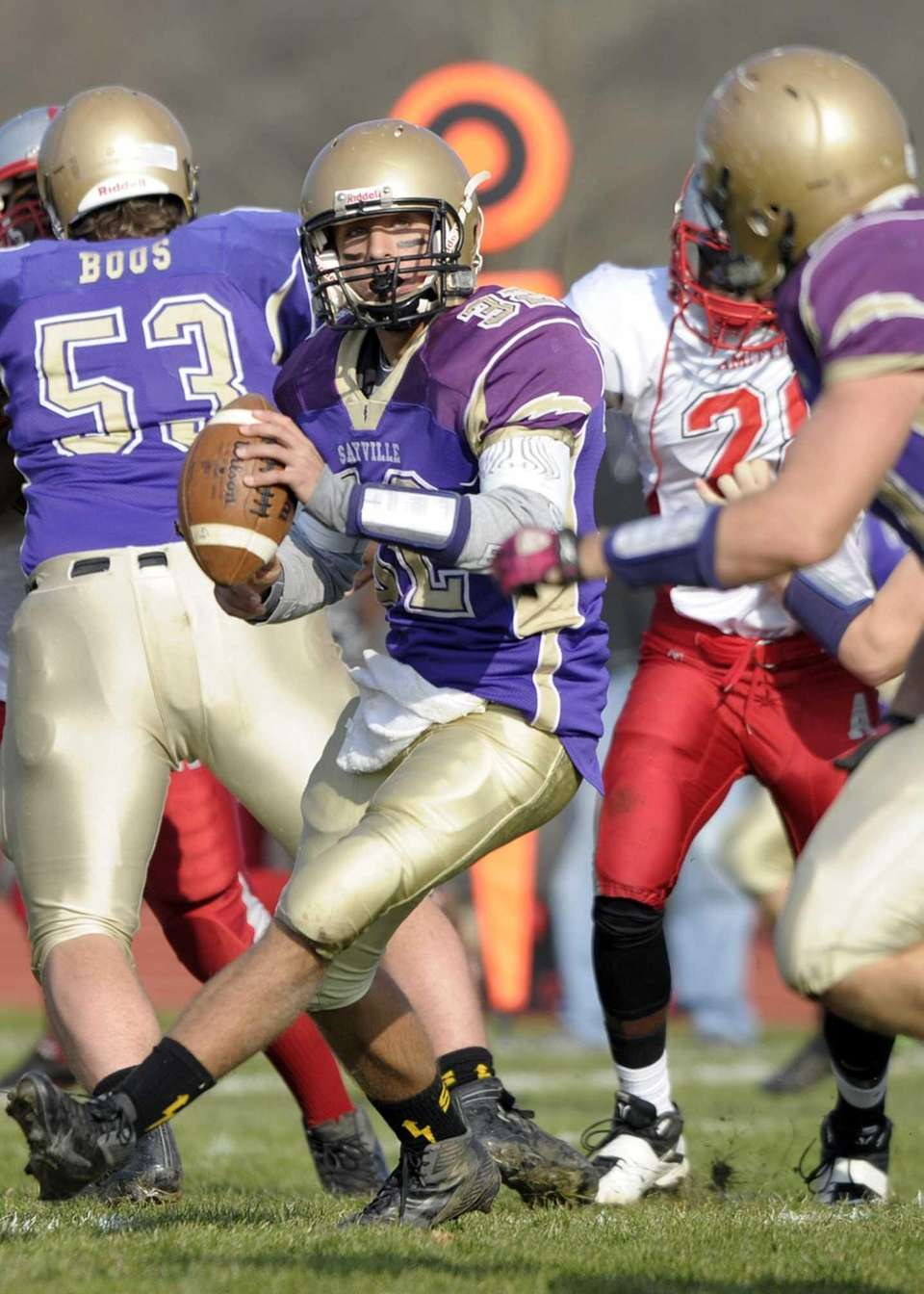 Sayville's Zachery Sirico pitches the ball to running