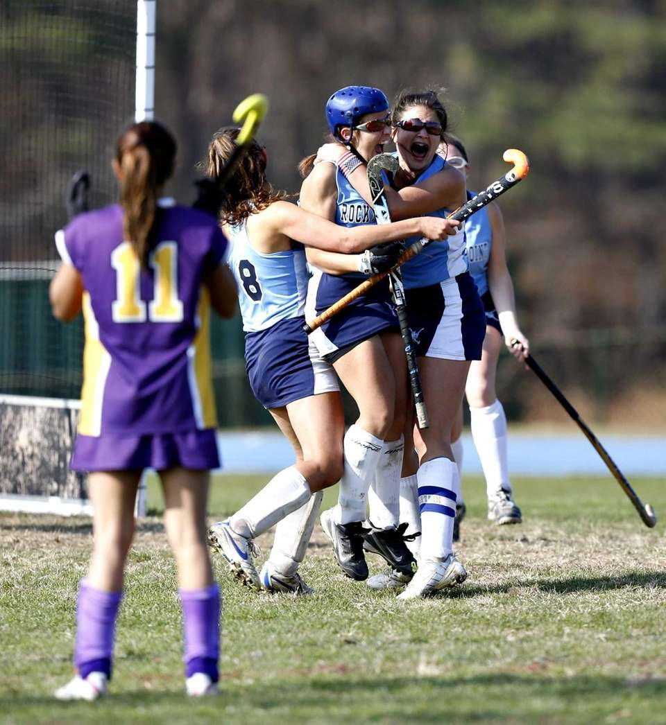 Rocky Point's Maggie DeFrank and Alyssa Milano celebrate