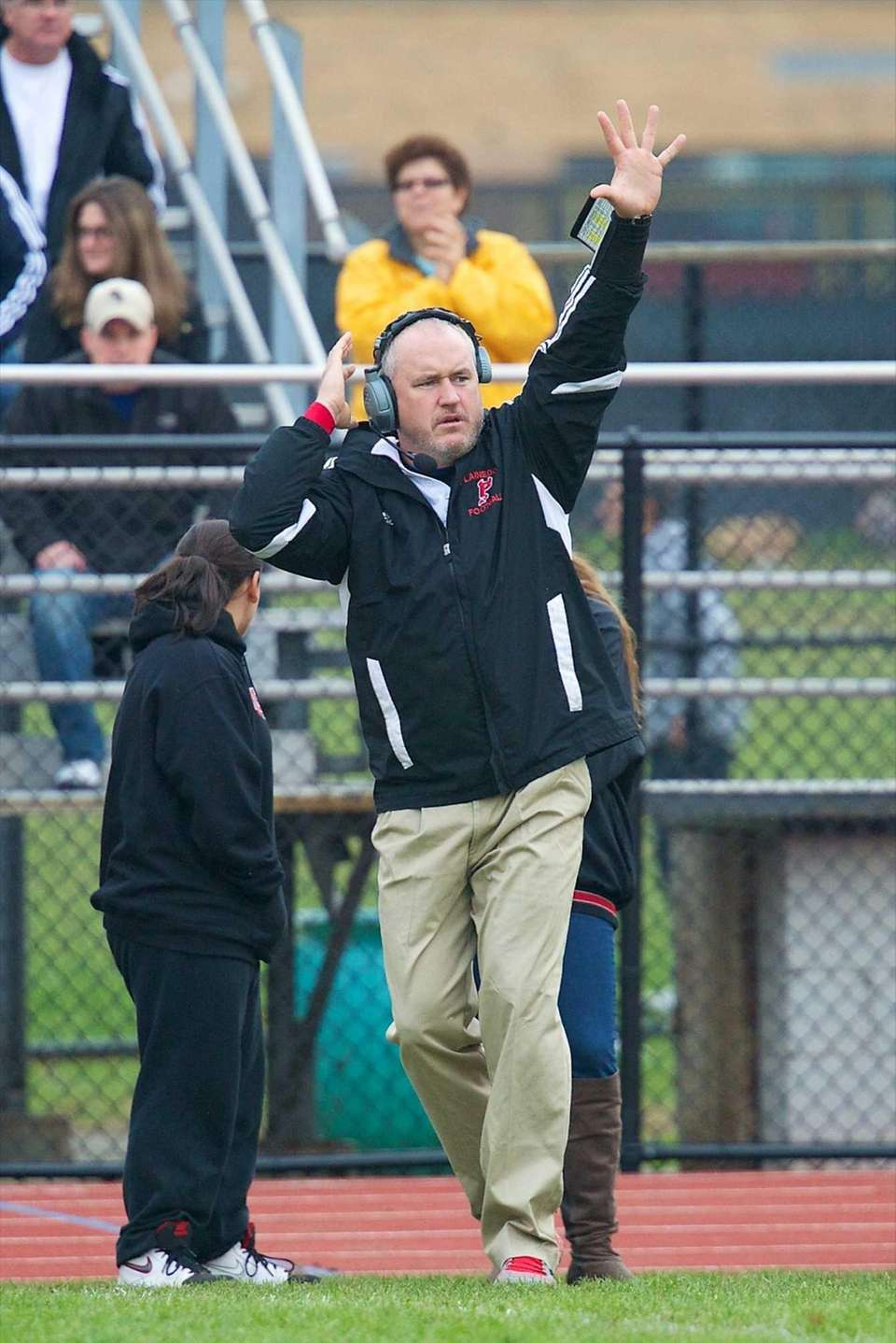 Plainedge coach Rob Shaver calls out the play