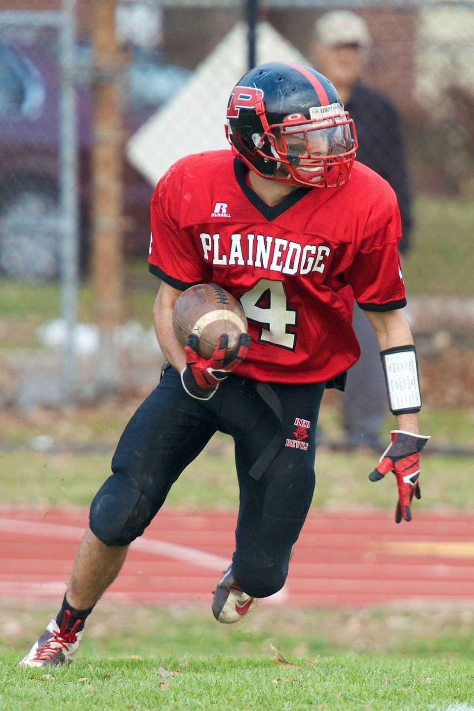Plainedge receiver Nick Cupolo returns a kickoff against