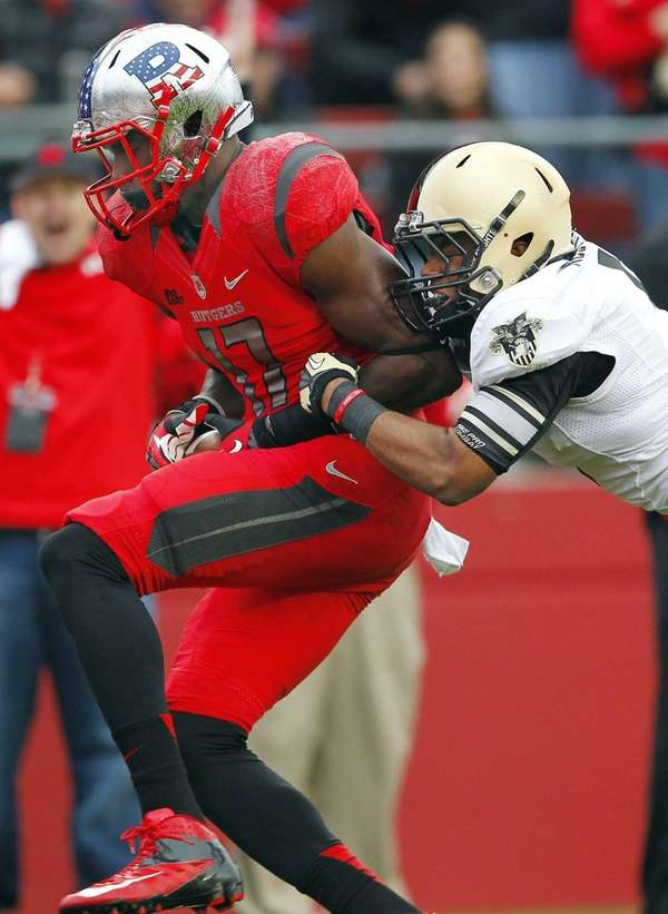 Rutgers wide receiver Brandon Coleman (17) holds the