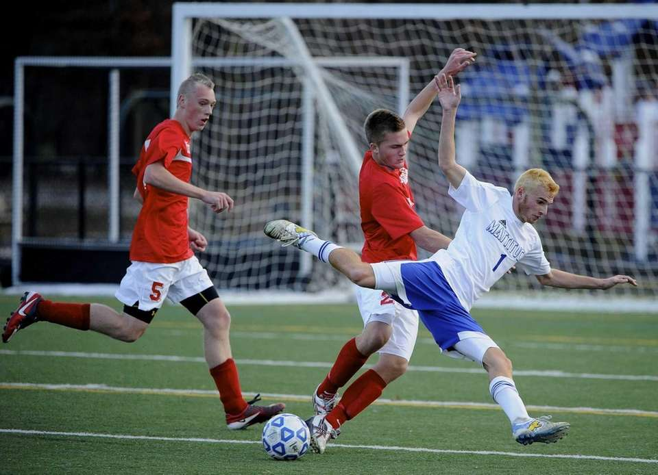 Mattituck's Stephen Urwand takes flight after a push