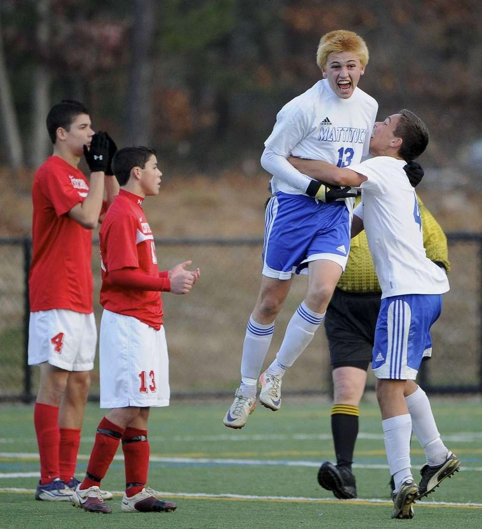 Mattituck's Kevin Williams reacts after he scores the