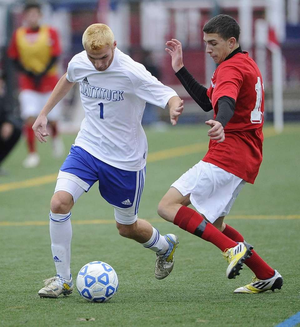 Mattituck's Stephen Urwand controls the ball as Center