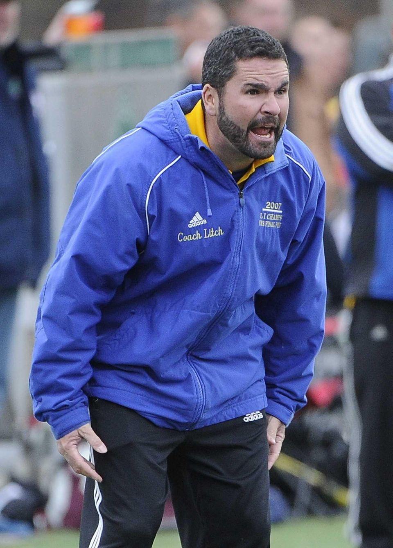Mattituck head coach Mathew Litchhult reacts to game