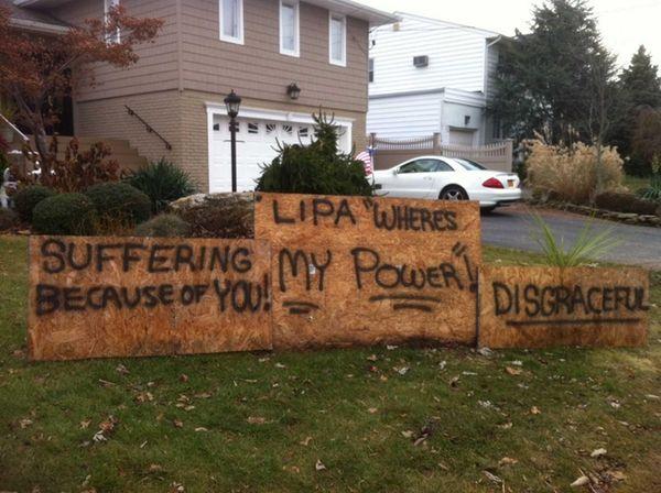 A sign to LIPA in Massapequa's Biltmore Shores