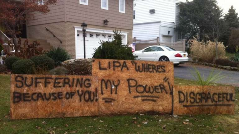 A sign to LIPA in Massapequa's Biltmore Shores