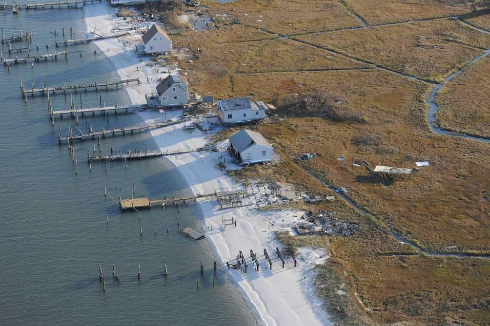 These marsh houses on an island north of