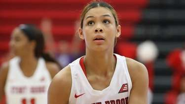Stony Brook forward Cheyenne Clark takes a free
