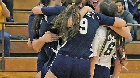 Massapequa celebrates win in the girls Class AA