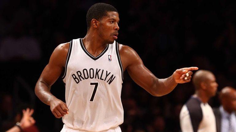 Joe Johnson of the Brooklyn Nets celebrates a